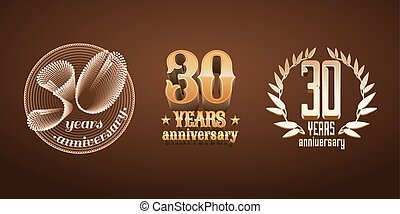 30 years anniversary set of vector logo, icon, number
