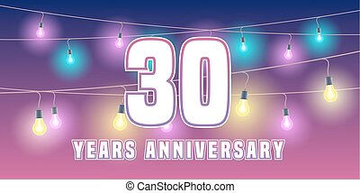 30 years anniversary vector icon, banner