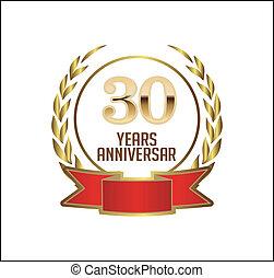 30 years anniversary with laurel ribbon, vector illustration