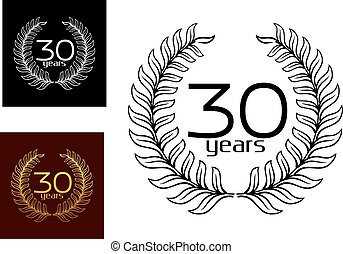 30 Years anniversary wreaths vector designs with the text...