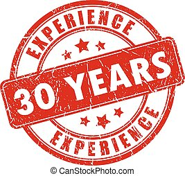 30 years experience stamp
