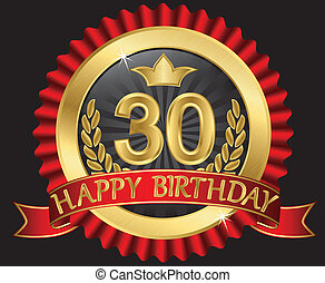 30 years happy birthday golden label with ribbons