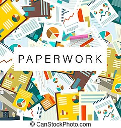 300-paperwork - Paperwork Vector Background with Graphs and ...