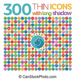 300 Thin Icons With Long Shadow