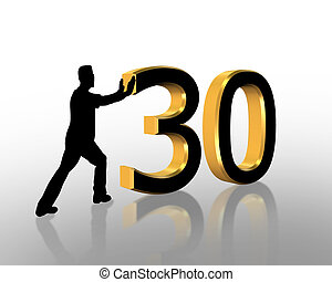 30th, aniversário, 3d, convite