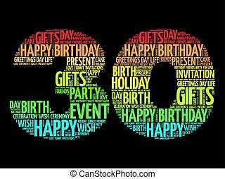 30th, aniversário, palavra, nuvem, feliz