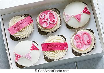 30th, birthday, cupcakes