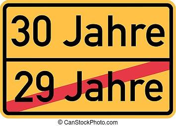 30th birthday - roadsign german