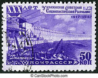 30th, dnieper, 1947:, ukrainian, série, -, aniversário,...