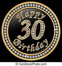 30th, doré, 30, anniversaire, vecteur, anniversaire, ...