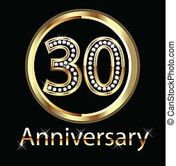 30th, jubileum, goud