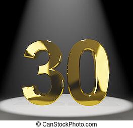 30th, or, trente, anniversaire, nombre, closeup, représenter, ou, 3d