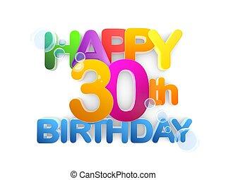 30th, születésnap, cím, boldog, fény