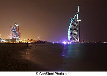 30th, uni, éclairé, 2011, hôtel, al, burj, arabe, pris, emirates., photo, mai, jumeirah, plage, night., dubai