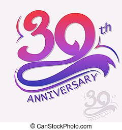 30th Years Anniversary Design, Template celebration sign. Vector