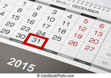 31 décembre, marqué, 2015, calendrier, page