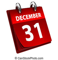 31 december - 3d illustration of calendar with last date in...