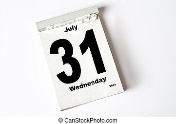31. July 2013 - calendar sheet