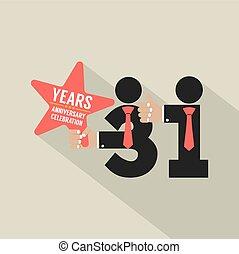 31, lata, rocznica, typografia