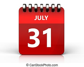 Calendario 31 Luglio.10 Luglio Calendario 3d 10 Sopra Illustrazione Sfondo