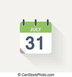 Calendario 31 Luglio.Grigio Fondo 8 Luglio Calendario Icona