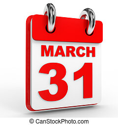 31 march calendar on white background. 3D Illustration.