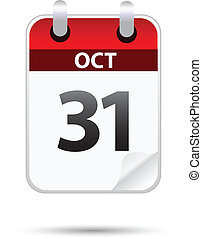 31 October calendar on white