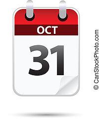 31 October calendar on white