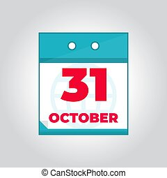 31 october daily calendar icon with month and date. Flat vector