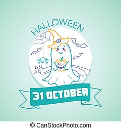 Calendar for each day on october 31. Greeting card. Holiday - Halloween. Icon in the linear style