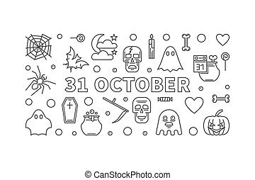 31 October Holiday horizontal outline illustration. Vector Halloween poster or flyer made with linear icons