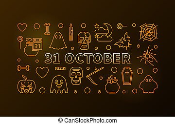 31 October Holiday yellow horizontal thin line illustration. Vector Halloween concept poster or flyer made with outline icons on dark background