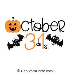 31, texto, halloween, murciélagos, lindo, fondo., octubre, calabaza, fantasma blanco