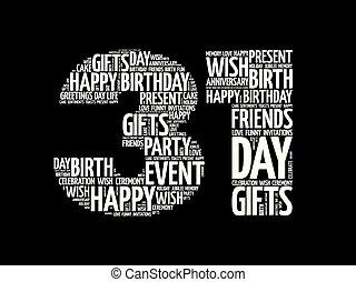 31, urodziny, słowo, chmura, szczęśliwy