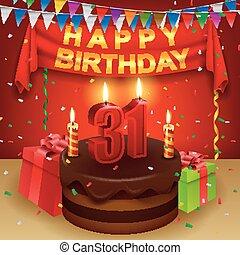 31, urodziny, szczęśliwy, czekolada