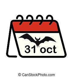 31, vampiro, calendario, octubre, halloween, blanco, illustration., aislado, simple, fondo., icono, murciélago, vector, oganiser, plano