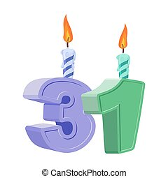 31 years birthday. Number with festive candle for holiday cake. Thirty-one Anniversary