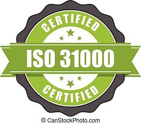 31000, écusson, -, gestion, risque, iso, certificat, norme