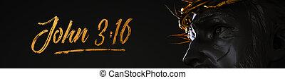 3:16, χρυσός , απόδοση , σημαία , χριστός , αγκάθι , γιάννηs , άγαλμα , ιησούς , αποκορυφώνω , 3d