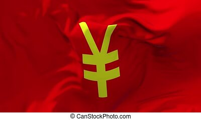 319. Japanese Yen Flag Waving in Wind Continuous Seamless Loop Background.