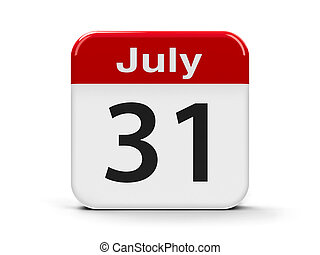 31st July - Calendar web button - The Thirty First of July,...