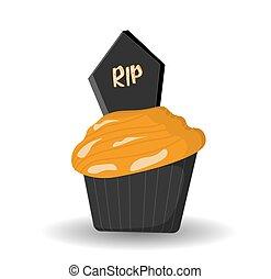 31st., vector, cupcake, fiesta, fantasmal, mollete, desserts., ilustración, o, recepción., octubre, halloween