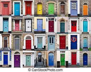 32 front doors horizontal collage - A photo collage of 32...