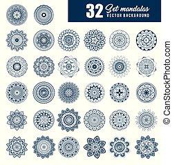 32 mandalas monochrome boho style set