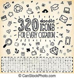 320, scarabocchiare, universale, icone