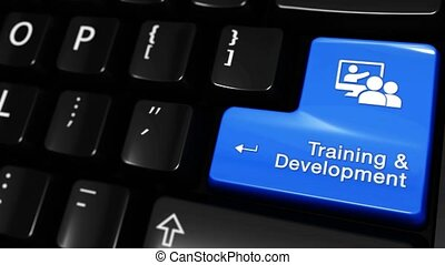 323. Training and Development Moving Motion On Computer Keyboard Button.