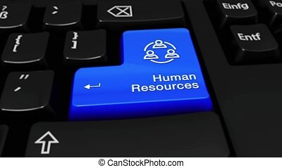 328. Human Resources Round Motion On Computer Keyboard...