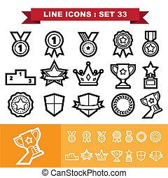 33, ligne, ensemble, icônes