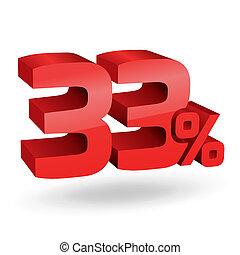 33, percento, illustrazione