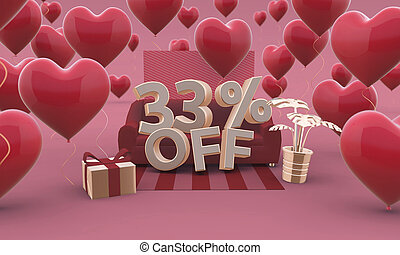 33 Thirty three percent off - Valentines Day Sale 3D illustration.